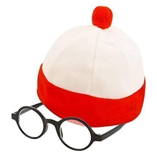 Kids Wally Glasses with lens /& Hat Fancy Dress World Book Day  Kids Costume Set