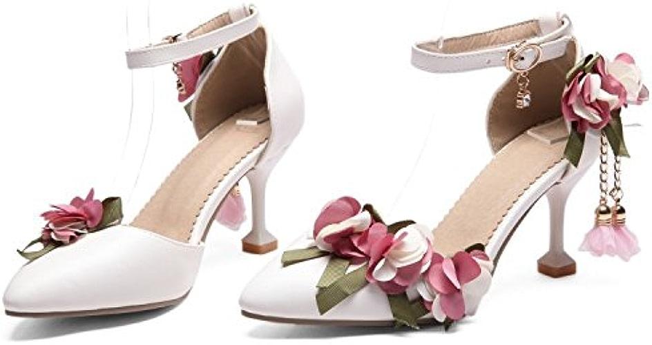 AJUNR Femmes Loisirs Printemps et été Mode Sandales 8cm de Haut Talons Le Chaussures de Mariage Simple et Doux des Fleurs et de Forage D'eau