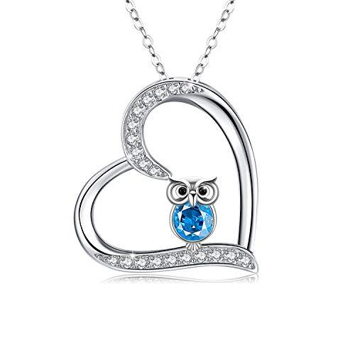 Eule Kette 925 Sterling Silber Kristall Eule Halskette für Frauen Eule Schmuck für Mädchen Kinder