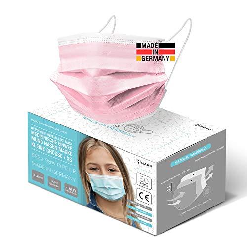 HARD 50x Kinder Medizinischer Mundschutz, Made in Germany, TYP IIR OP-Maske, CE zertifiziert EN14683 99,78% BFE 3-lagig Öko TEX, schützende Mund-Nasen-Bedeckung, Einweg-Gesichtsmasken - Rosa
