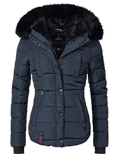 Marikoo Damen Winter Jacke Steppjacke Lotusblüte (vegan hergestellt) Blau Gr. M