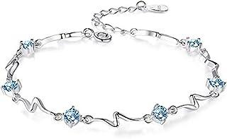 Sterling Silver Bracelets for Women Girls Dolphin Heart Star Butterfly Clover Bracelets for Gift