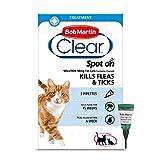 Bob Martin Clear   Spot On Flea Treatment for Cats & Ferrets   Kills Fleas & Ticks   Fast Control, 15 Week Protection (3 Pipettes)