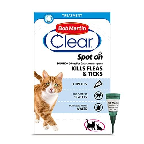 Bob Martin Clear | Spot On Flea Treatment for Cats & Ferrets | Kills Fleas & Ticks | Fast Control, 15 Week Protection (3 Pipettes)
