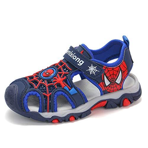 YEMAO Kinder Jungen Spiderman Freizeit Sandalen Sport im Freien, Wasser, Sommer-Strand-Schuhe,Blue-26 EU