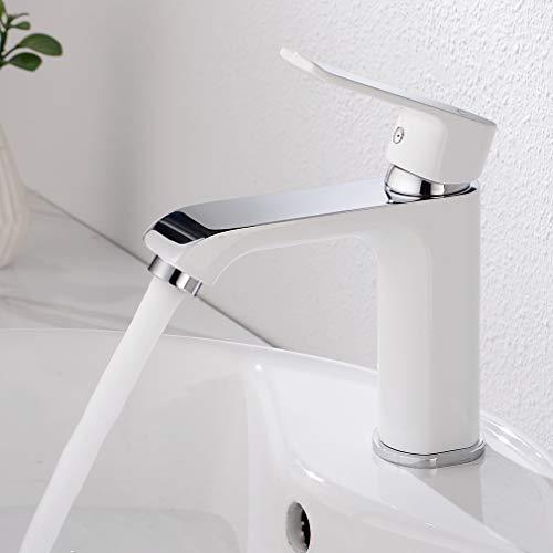 CECIPA Wasserhahn Bad Design mit Wassersparfunktion, Elegant Waschtischarmatur Einhebelmischer Mischbatterie Osmose, Waschbeckenarmatur für Badezimmer Waschbecken, Weiß