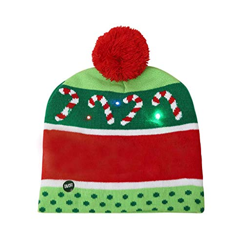 jieGorge Adult Christmas Hat Snowflake Wave Stripe LED Glowing Christmas Hat, Home Decor for Christmas Day (D)