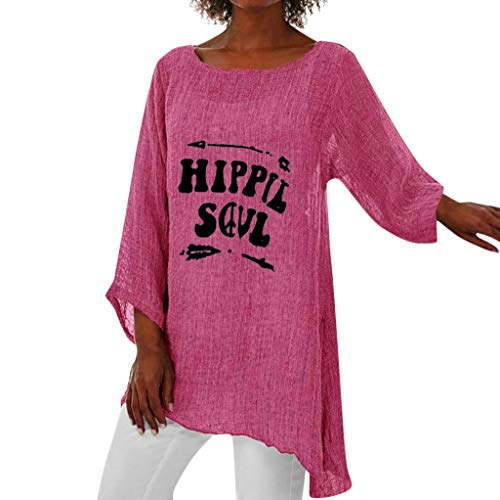 Lazzboy Frauen Plus Size Langarm Baggy Bluse Shirt Damen Tunika Tops Langarmshirt Pullover T-Shirt Für Große Größen Strand Oversize Locker Oberteile(Rosa,M)