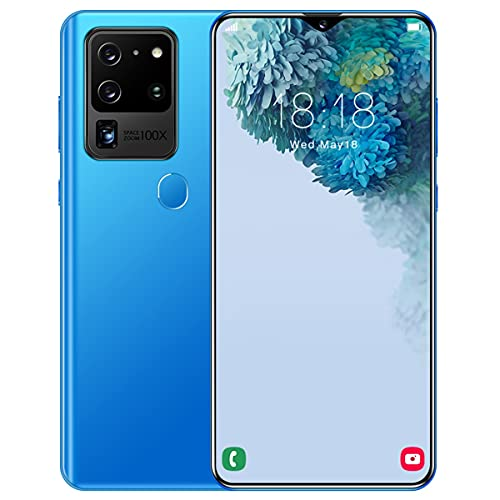 Pretty Store Teléfono Inteligente Android 5G, 256 GB / 8 GB De RAM, Batería De 4800 MAh, Pantalla Infinity-V De 6.8 Pulgadas, Doble SIM, Huella Digital, Identificación De Rostro (Color : Blue)