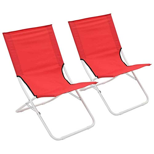 ALL-JingHong Sonnenliege verstellbar Wellnessliege Klappbare Strandstühle 2 Stück erhältlich Rot JH-359