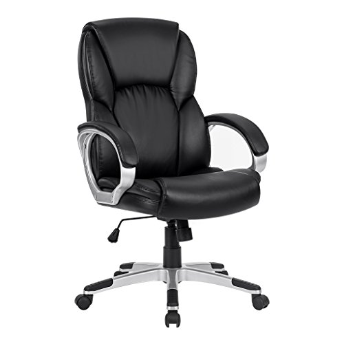 LANGRIA Mid-Back Faux Leather Computer Executive Office Chair, Modern and Ergonomic Design, Adjustable Seat Height, Tilt Mechanism, 360 Degree Swivel, Black