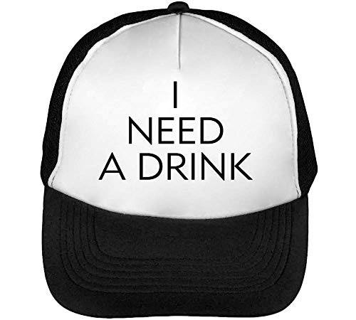 I Need A Drink Funny Black Fashioned College Friday Night Slogan Casquette Snapback Homme Noir Blanc Baseball