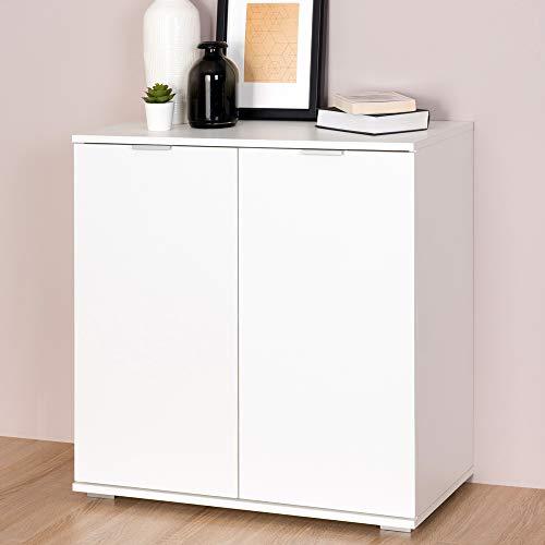 Deuba Kommode Sideboard Alba mit 2 Türen 71 x 74 x 35 cm Anrichte Beistellschrank Holz, Weiß