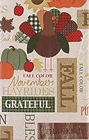 Bountiful Harvest 秋のイメージと言葉 ビニールフランネルバックテーブルクロス (52インチ x 70インチ 長方形)