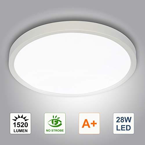 28W LED Deckenleuchte, bapro Deckenlampe Bad 1520LM 6500K Kaltweiß Mordern Badezimmerlampe für Badezimmer Küche Wohnzimmer Balkon Flur Schlafzimmer Büro[Energieklasse A+]