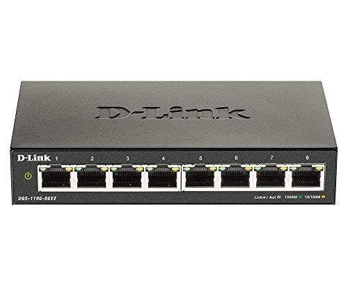 D-Link DGS-1100-08V2, 8-Port Layer 2 smart managed Gigabit Switch, (8 x 10/100/1000 Mbit/s BaseT Port, lüfterlos, Metallgehäuse)