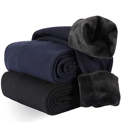 XDDIAS Térmicas Leggins Mujer, 2 Pares Cálidas de Invierno Pantalones, Alta Elasticidad Mujeres Grueso Polainas(Negro +Azul Marino)