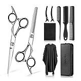 Janolia-Forbici da parrucchiere,pettine, clip nera, panno per taglio di capelli, panno per la pulizia, Adatto a parrucchieri domestici e professionali