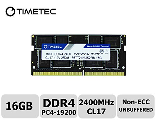 Timetec Hynix IC 16GB DDR4 2400MHz PC4-19200 Non ECC Unbuffered 1.2V CL17 2Rx8 Dual Rank 260 Pin SODIMM Laptop Notebook Computer Memory Ram Module Upgrade