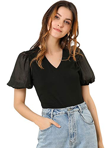 Allegra K Women's Puff Short Sleeve V Neck Stretchy Cotton Solid Color Top...