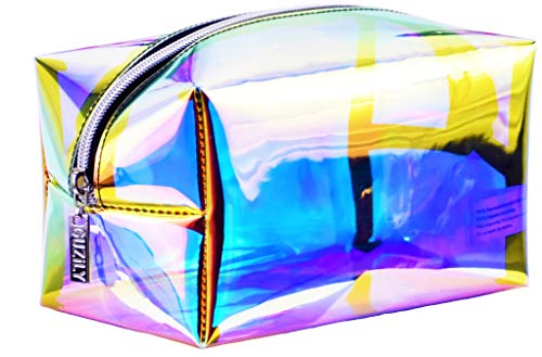 Guzily Holographic Makeup Bag, Cosmetic Bag, Toiletry Bag, Travel Pouch, Pencil Case, w Iridescence Rainbow Shiny Translucent Water Resistant Fabric, Unisex Makeup Organizer, 1 Large Holo Makeup Bag