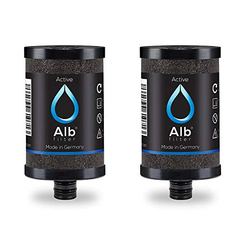 Alb Filter® Active (2er-Pack) Ersatzkartuschen | beseitigt Schadstoffe, Mikroplastik, Chlor, Blei, Pestizide | Made in Germany