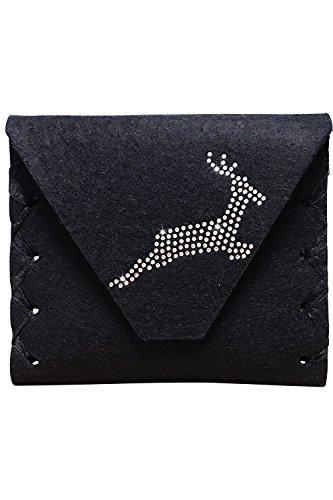 Edelnice Trachtenmode Handgearbeitete Dirndl Clutch Geldbörse aus Filz für die Dirndlschürze schwarz mit silber Swarovski Hirsch