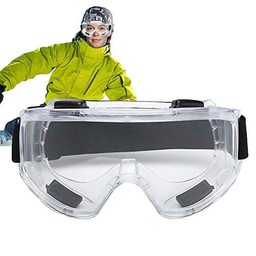 GWL Gafas transparentes, resistentes a impactos y salpicaduras, protección UV, anti niebla, gafas de protección ajustables, gafas de esquí para moto de nieve