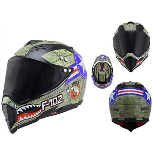 UDOIT Vollgesichts-Motorradhelm Männlicher Rallye-Helm mit voller Abdeckung Lokomotivhelm Vollhelm Vier Jahreszeiten Geeignet für Offroad-XL