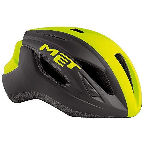 Met Casco Strale M(56-58) Ciclismo, Adultos Unisex, Multicolor (Negro Amarillo)