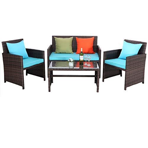 Do4U Outdoor Patio Furniture Set 4 Pcs PE Rattan Wicker Garden Sofa and Chairs Set with Turquoise Cushion with Table (Mix-Turquoise)