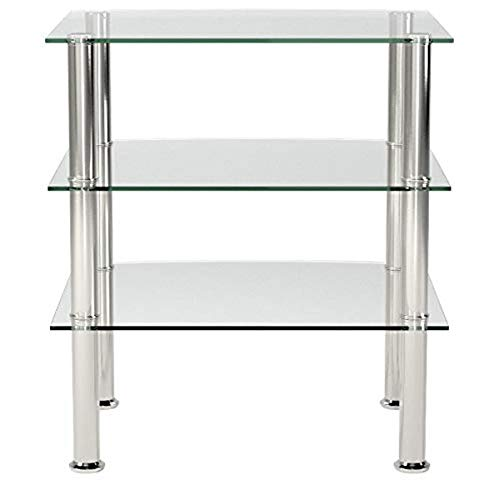 Haku Möbel 15209 mesa auxiliar, vidrio 5 mm, acero inoxidable, vidrio transparente, 54 x 45 x 61