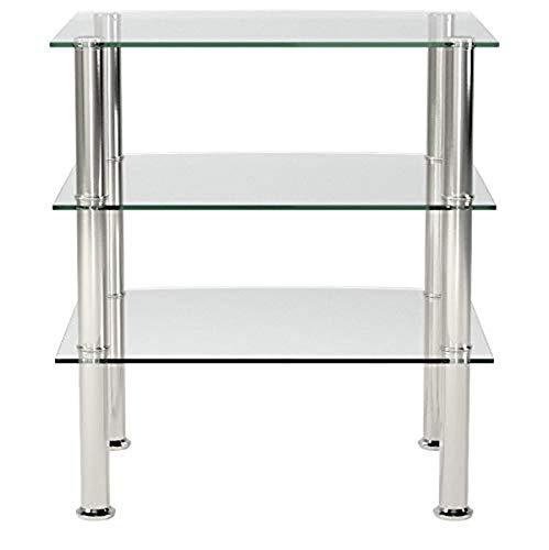 Haku-Möbel 15209 Beistelltisch, Sicherheitsklarglas, Edelstahl-Klarglas, 54 x 45 x 61