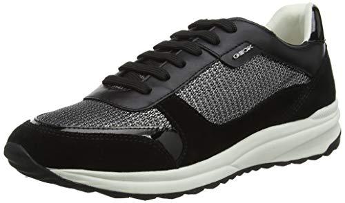 Geox Damen D AIRELL C Sneaker Schwarz (Gun/Black C1223) 39 EU