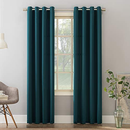 "Sun Zero Barrow Energy Efficient Grommet Curtain Panel, 54"" x 95"", Teal"