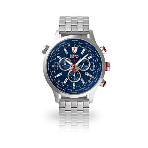 DETOMASO AURINO Uomo Guarda Cronografo analogico Quarzo argento bracciale in acciaio inox quadrante blu DT1061-C-866