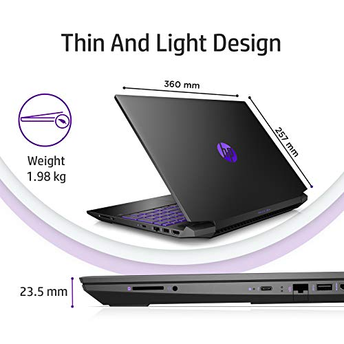 HP Pavilion Gaming 15.6-inch FHD Gaming Laptop (Ryzen 5-4600H/8GB/1TB HDD + 256GB SSD/Windows 10/144Hz/NVIDIA GTX 1650ti 4GB/Shadow Black), 15-ec1050AX