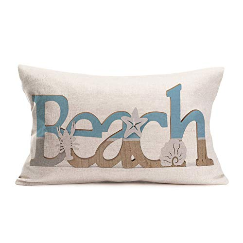 Doitely Beach Throw Pillow Covers Summer Beach Lobster Starfish Shell Decorative Cotton Linen Pillow Cases for Nautical Style Decor 12 X 20 Inches