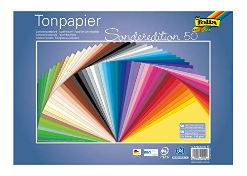 folia 6735/50 99 - Tonpapier Mix, ca. 35 x 50 cm, 130 g/m², 50 Blatt sortiert in 50 Farben, zum Basteln und kreativen Gestalten von Karten, Fensterbildern und für Scrapbooking