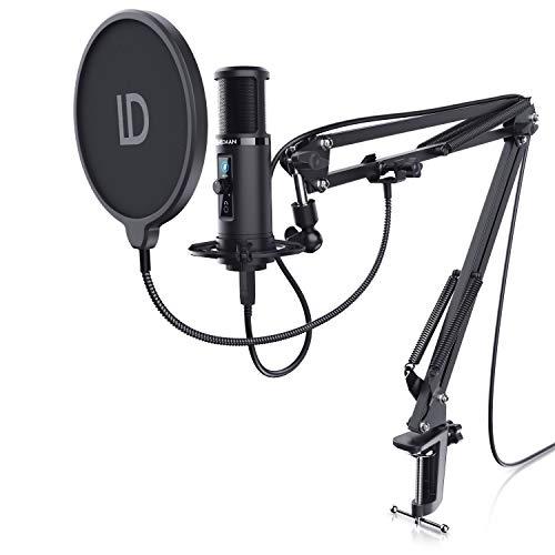 LIAM & DAAN - USB Mikrofon - Studiomikrofon Set - Kondensatormikrofon mit Mikrofonarm, Spinne und Nierencharakteristik - Drehregler - Monitoring Echtzeitkontrolle – Podcast PC Microphone - mit Arm