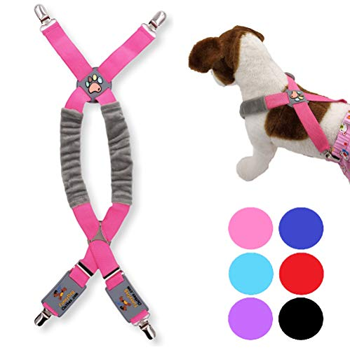 FunnyDogClothes Dog Suspenders for Pet Clothes Apparel Diapers Pants Skirt Belly Bands Small Medium and Large Dogs (XS/M: 9lb - 25lb, Pink)