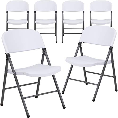 Flash Furniture 6 Pk. HERCULES Series 330 lb. Capacity White Plastic Folding Chair with Charcoal Frame