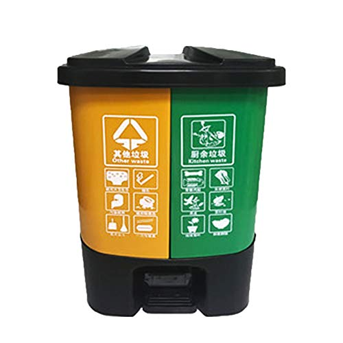 GYJ Small Waste Bin Classified Trash, Can Home Kitchen Office Foot Recyclable Plastic Double Barrel, Best Materials and Solid Engineering