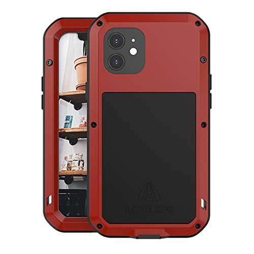 LOVE MEI iPhone 12 Funda, Aluminum Metal+Vidrio Templado Cubierta Resistente Resistente a Golpes, Antideslizante Anti-caída Anti-Nieve, para iPhone 12 (Rojo)