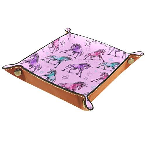 Chuangxin Ornamento con unicornios de microfibra bandeja de escritorio práctica caja de almacenamiento para carteras, llaves y equipo de oficina, cajas de almacenamiento para niños, 20,5 x 20,5 cm, multicolor, 16x16cm