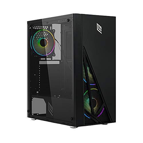Noua Smash S8 Black Case ATX per PC Gaming 0.50MM SPCC 3*USB3.0/2.0 Frontale Mesh 4 Ventole Triplo Halo RGB Rainbow Addressable 5V ADD Pannello Laterale in Vetro Temperato (AxPxL: 415x390x190 mm)
