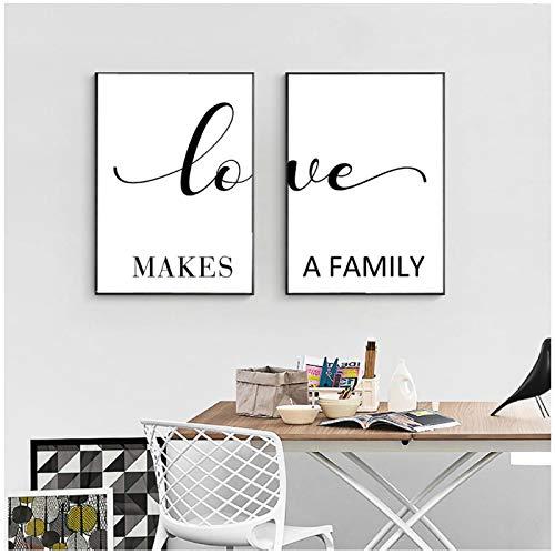 Impresión en lienzo El amor hace cita familiar Pintura en lienzo Impresiones y carteles en blanco y negro Imágenes artísticas de pared Sala de estar Decor para el hogar 50x70cm/19.6'x27.5'x2Sin marco