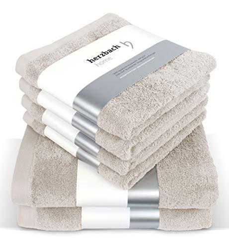 herzbach home Handtuch Set Premium Qualität aus 100{159815257d7a4c4410f33b4e4bbb4ddf47766cafe48f9078f8edc3f0789f6b1e} Baumwolle 4 Handtücher 50x100 cm 2 Duschtücher 70 x 140 cm (sandgrau)