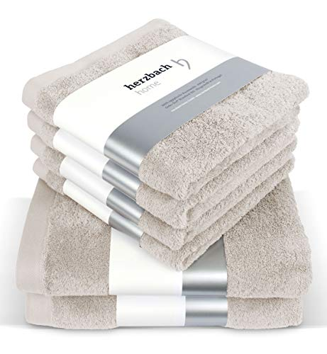 herzbach home Handtuch Set Premium Qualität aus 100% Baumwolle 4 Handtücher 50x100 cm 2 Duschtücher 70 x 140 cm (sandgrau)
