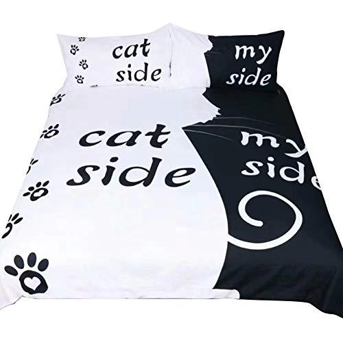 Housse de couette 3 pièces en tissu doux avec taies d'oreiller, côté chien, de mon côté, de la...
